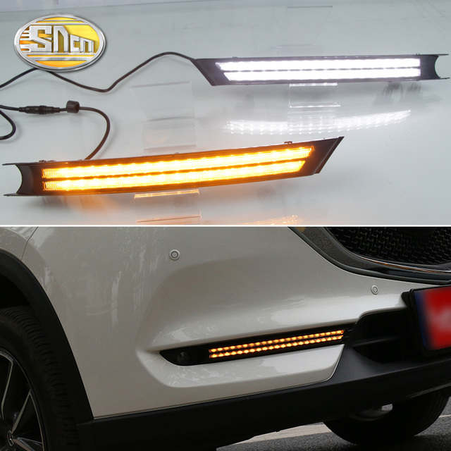 SNCN 2PCS LED Daytime Running Light For Mazda CX 5 CX5 2017   2020 Flowing Turn Signal Relay ABS 12V DRL Fog Lamp Decoration