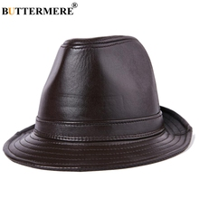 BUTTERMERE 2019 Brand Hat Fedora Brown Top Caps Bowler Genuine Leather Wide Brim Jazz Cap Male Designer Retro Winter Trilby Hats