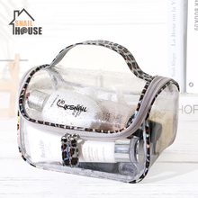 Snailhouse Transparent PVC Travel Organizer Clear Makeup Bag Beautician Cosmetic Bag  Toiletry Bag Make Up Pouch Wash Bags leaves hanging cosmetic toiletry bags travel organizer beautician necessary functional makeup wash pouch accessories supplies