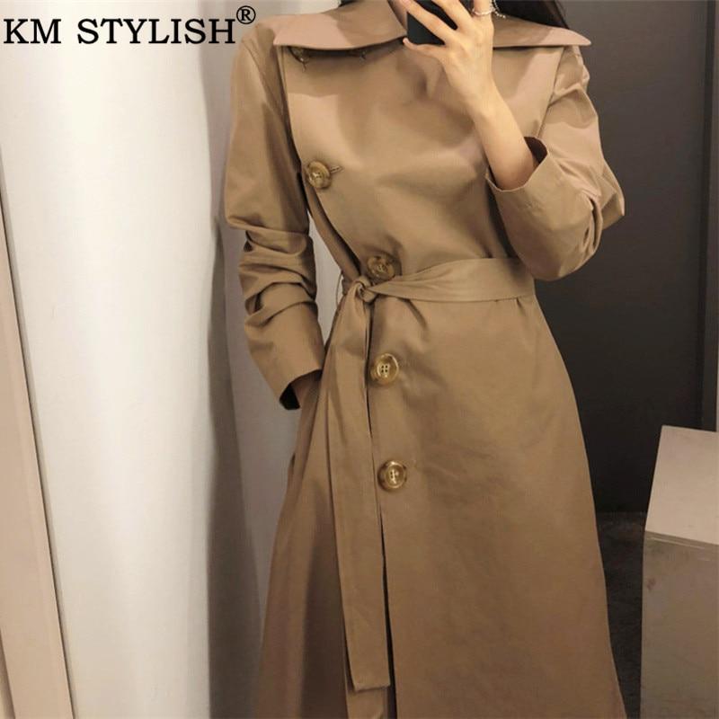Trench   Coat For Women Cloth Autumn Winter Khaki Belt Long   Trench   Turn-Down Collar Casual Windbreaker Female OL Outwear