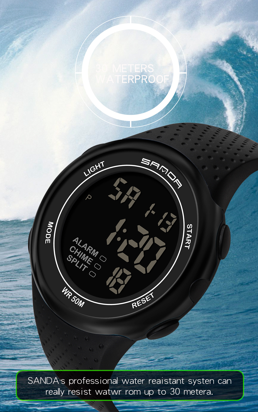 IsMyStore: Waterproof Digital Watch Men Alarm-clock Date-week-display Sports Electronic Watches Luminacence Modes relogio masculino SANDA