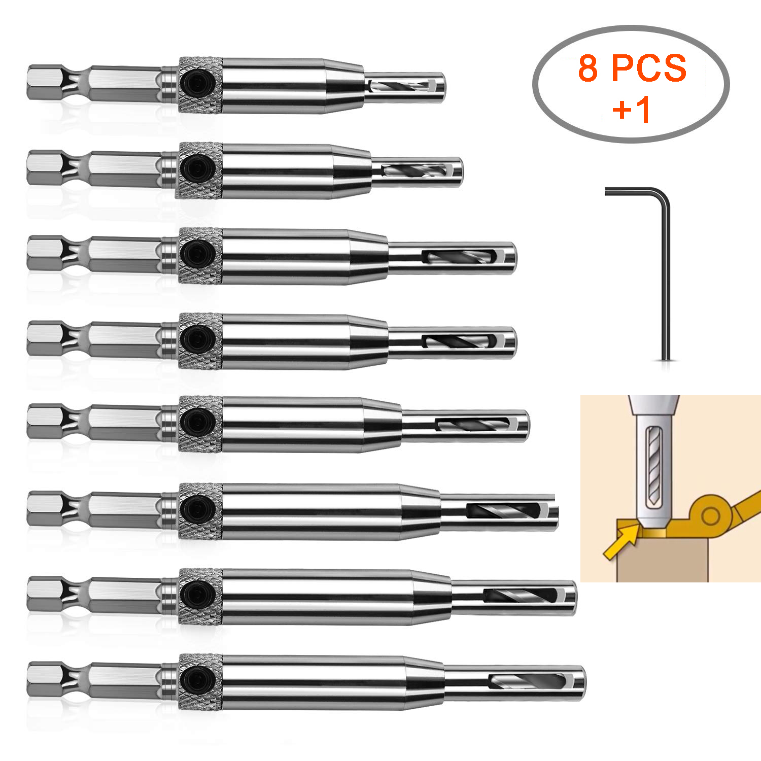 "8PCS/Set Hinge Drill Bits 1/4"" Shank Self Centering Window Door Hinge Twist Wood Drill Bits"