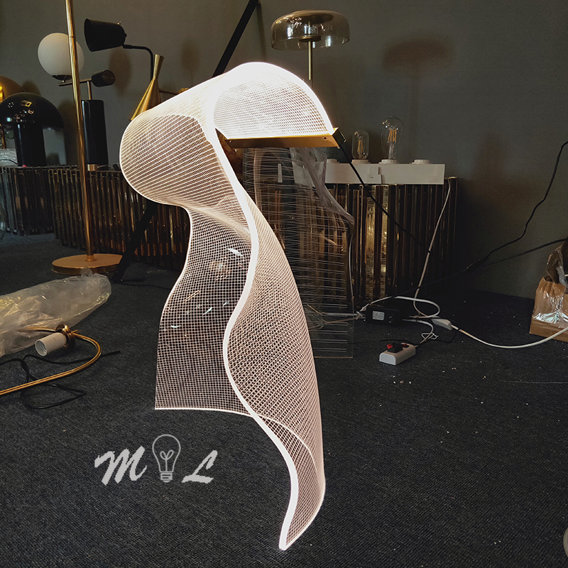 Modern New Led Table Lamps For Living Room Irregular Shaped Acrylic Sheet Beside Lamp Bedroom Home Deco Creative Table Light