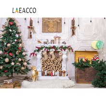 Laeacco Gray Christmas Tree Reindeer Gift Fireplace Wood Pine Toy Carpet Wall Portrait Photo Backdrops Backgrounds Studio