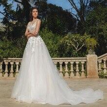 Verngo A-Line Wedding Dress Lace Appliques Gowns Elegant Bride Organza Boho Vestidos De Noiva