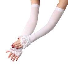 Gants de conduite en dentelle et soie glacée pour femmes, 1 paire, mancherons couverts, manches élastiques, longs sans doigts, protection solaire d'été, mitaines