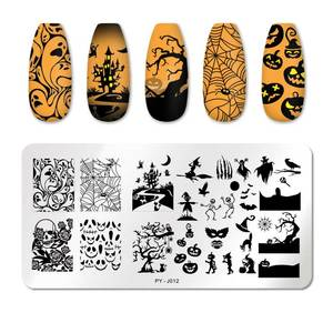 Image 5 - PICT YOU Halloween Nail Stamping Plates Pumpkin Flowers Animal Tropical Geometry Pattern Nail Art Image Lace Stamp Templates