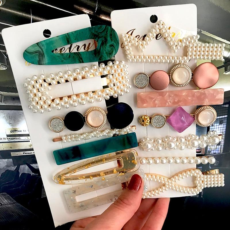 Fashion Acrylic Pearl Hair Clips Set Sweet Headwear Hair Ornament Hairpins Barrettes