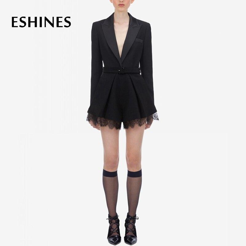 ESHINES, дизайнерский купальный костюм с шортами, Осенний лоскутный кружевной комбинезон с v образным вырезом и длинными рукавами, с поясом, офисные женские комбинезоны