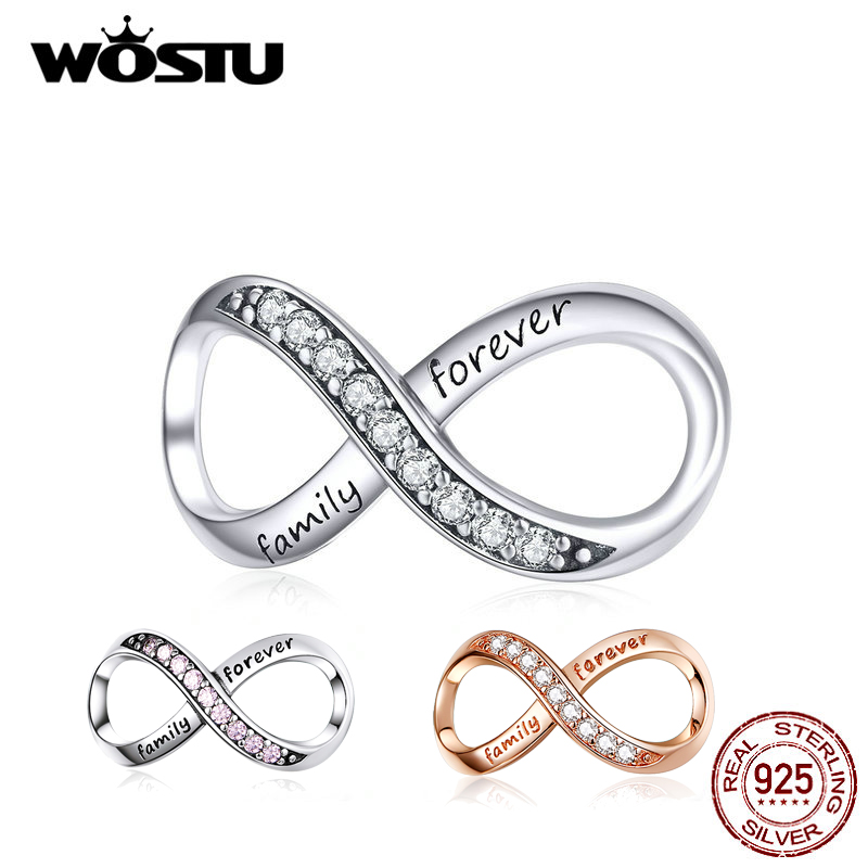 WOSTU Silver Color Infinite Symbols Charm Authentic 925 Sterling Silver Original Charm Fashion Jewelry Gift For Women  DXC1146