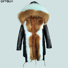 Coat Winter Sheepskin Rivet-Sleeves Jacket Women Long-Parka Real-Fur Outerwear New OFTBUY