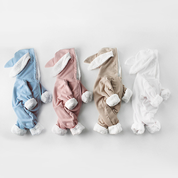 Zimowe śpioszki dla niemowląt nowonarodzone chłopcy dziewczęta ubrania ucho królika kombinezon z kapturem kostium dla niemowląt polar grube chłopięce Romper piżamy tanie i dobre opinie Kids Tales COTTON CN (pochodzenie) Unisex W wieku 0-6m 7-12m 13-24m Stałe baby zipper Pajacyki Pełna MBR373 Pasuje prawda na wymiar weź swój normalny rozmiar