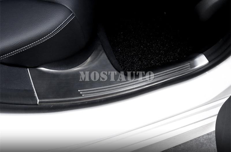 For Benz C Class W205 Stainless Inside Door Sill Scuff Plate 2014-2017 4pcs