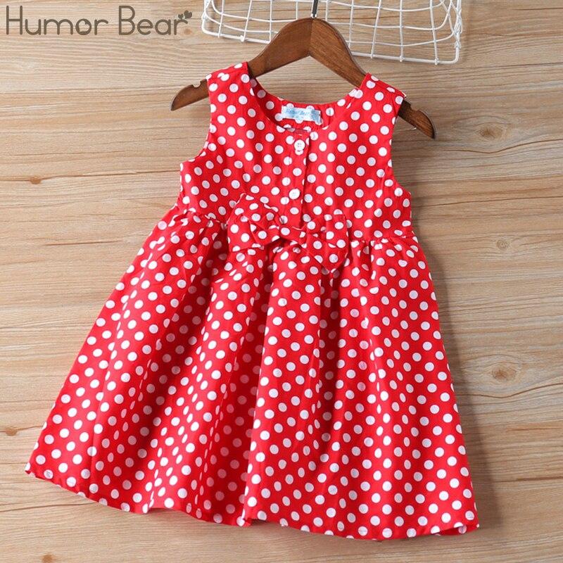 Humor Bear Girl Dresses Kids Clothes  Girl Sleeveless Cute Bow Dot Princess Dress Children Clothing Christmas Baby Girl Clothes 1