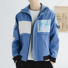 купить 2019 Autumn And Winter Men's New Casual Contrast Color Letter Print Pocket Decoration Hooded Jacket Loose Temperament Cotton дешево