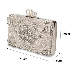 Image 2 - מישמש כסף קריסטל מצמד שקיות בעבודת יד חרוזים פנינה חתונת מצמד ארנק יוקרה תיקי נשים כתף שקיות ZD1361