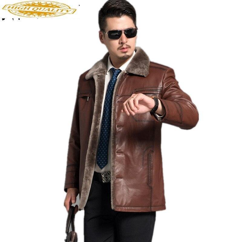 Genunie Mens Leather Jackets Red Brown 2020 Winter Leather Men's Jacket Parka Goat Skin Man Jacket Coat Plus Size FYY589