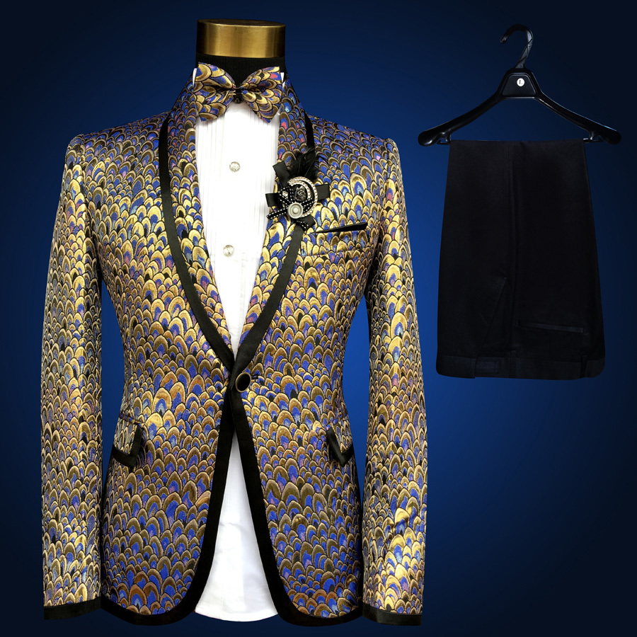 Colorful Suit Men (Jacket+pant) Shinny Gold Silver Contrast Black Costume Homme Marriage Wedding Stage  Host Stage Suits Men