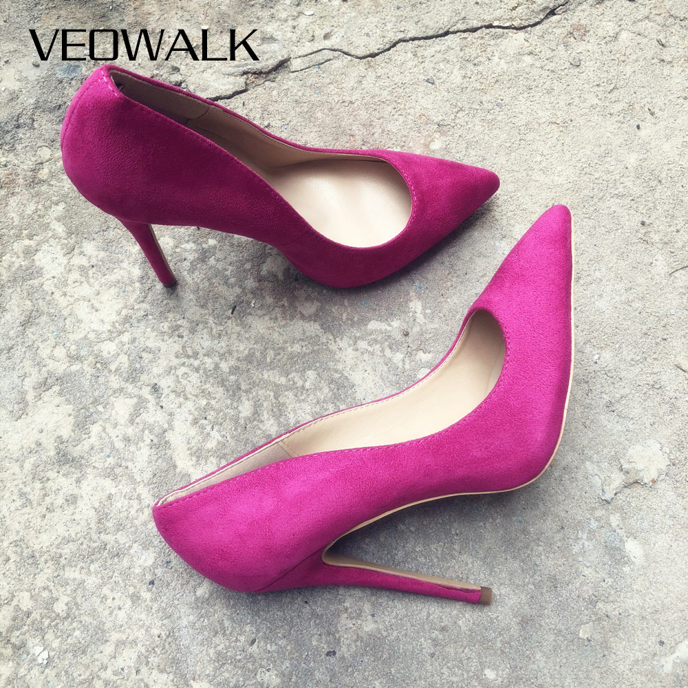 Veowalk Rose Pink Flock Women Stileetos Extremely High Heels Ladies Pointed Toe Cute Pumps Slip On OL Shoes Customized Accept