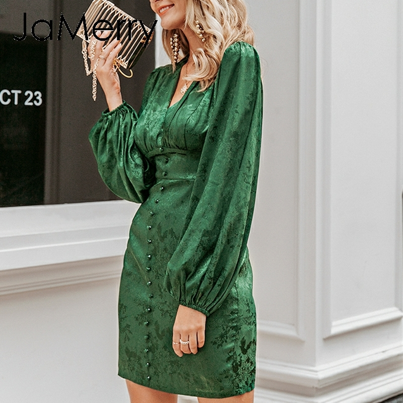 Image 3 - JaMerry Vintage sexy short party dress Lantern single breasted a line mini dress Green ribbon highstreet elegant dressesDresses   -