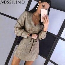 Aossilind блестящее с длинным рукавом поясом сексуальное облегающее