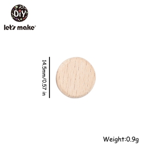 Image 4 - LetS Make 100 PC Handmade Baby Teether ลูกปัดไม้ Beech สีลึกรอบ Teething ลูกปัดสำหรับพยาบาลเด็ก teether