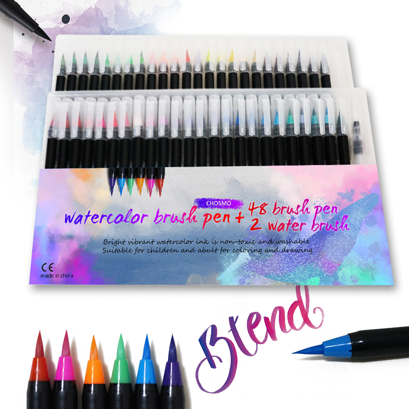 48 Color Premium Markers Soft Set Watercolor Paint Brush Pen Effect Best Felt-Tip Pen For Coloring Books Manga Comic Calligraphy
