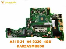 Original für ACER A315-21 laptop motherboard A315-21 A6-9220 4GB DA0ZASMB8D0 getestet gute freies verschiffen
