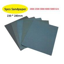 5 adet zımpara seti 2000 2500 3000 4000 5000 Grit zımpara kağıdı su/kuru zımpara kum kağıtları 230*280mm