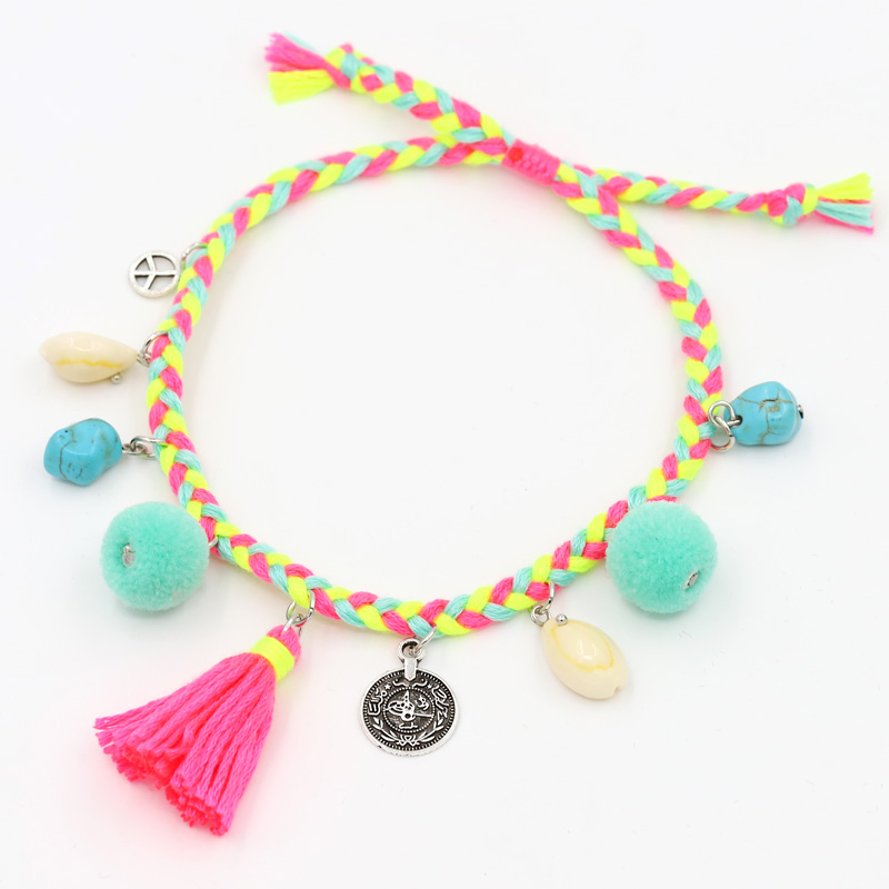 Anklets for Women Boho Jewelry Hand-woven Rope with Shell Tassel Natural Stone Adjustable Ankle Foot Bracelet Beach Accessories