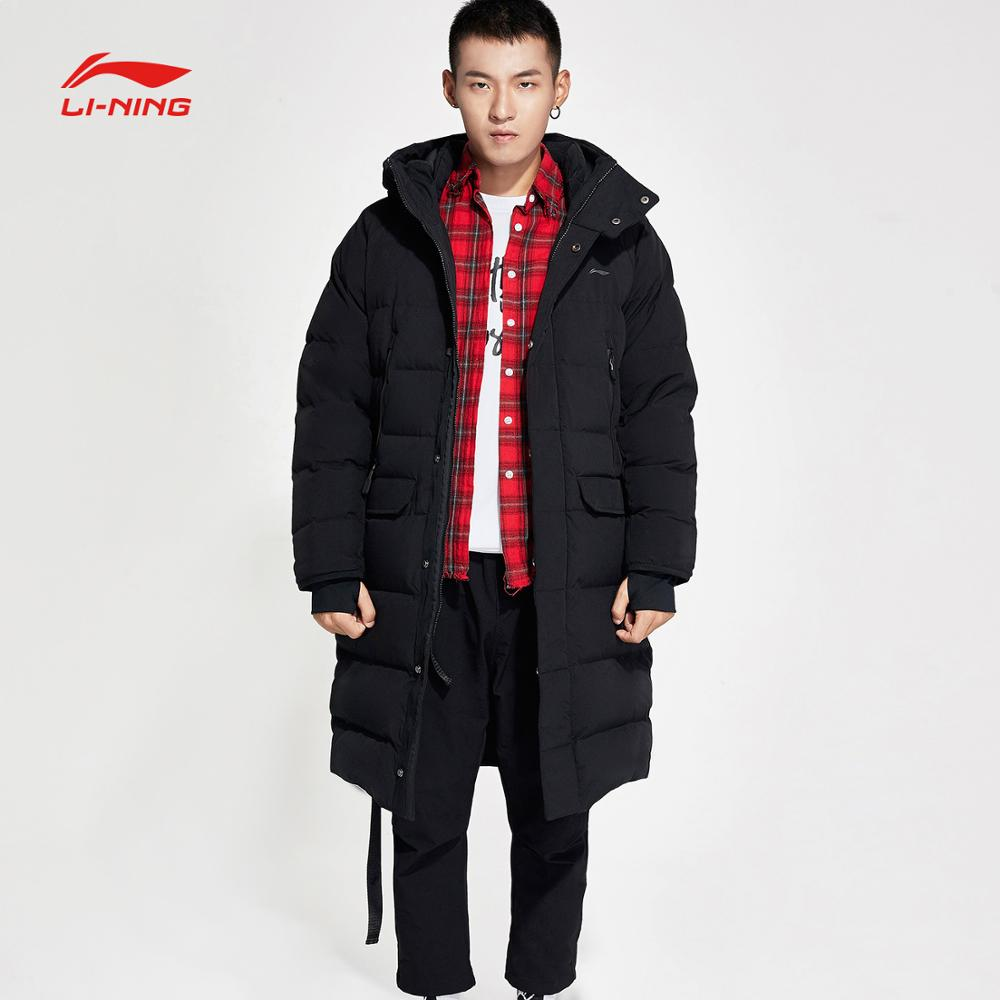 Li-ning unisexe formation série Long vers le bas manteau 70% duvet contenu gris canard vers le bas lâche Fit doublure sport veste AYMN094 COND18