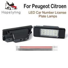 цена на 2Pc LED License Number Plate Light Lamp For Peugeot 106 1007 207 307 308 3008 406 407 508 607 Citroen C2 C3 C4 C5 C6 C8 Berlingo