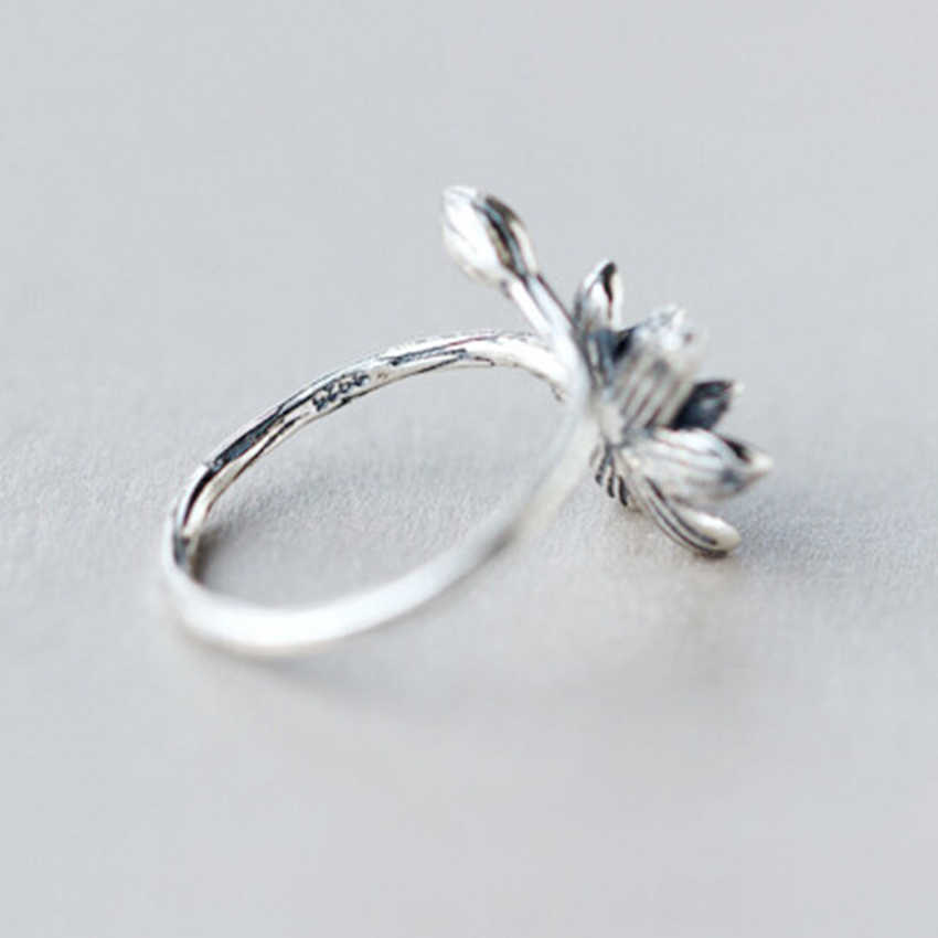 Unique Black Lotus ดอกไม้แหวนหญิงเปิดแหวนนิ้วมือ Christmas Party ของขวัญผู้หญิงผู้หญิงอุปกรณ์เสริมเครื่องประดับ