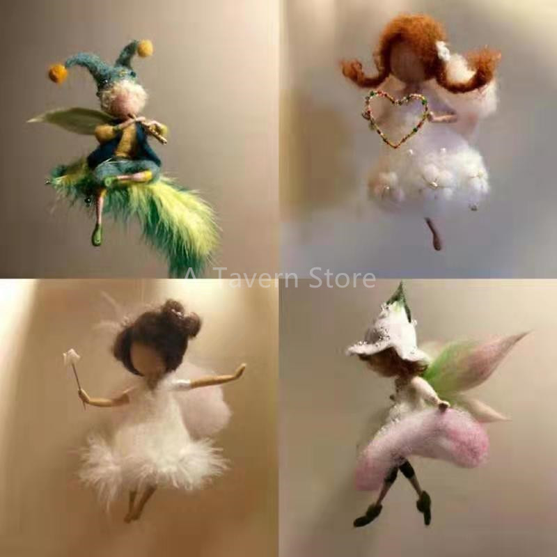 Fashion Custom Little Fairy Wool Felt Craft DIY Non Finished Poked Set Handcraft Kit for Needle Material With Videos(China)