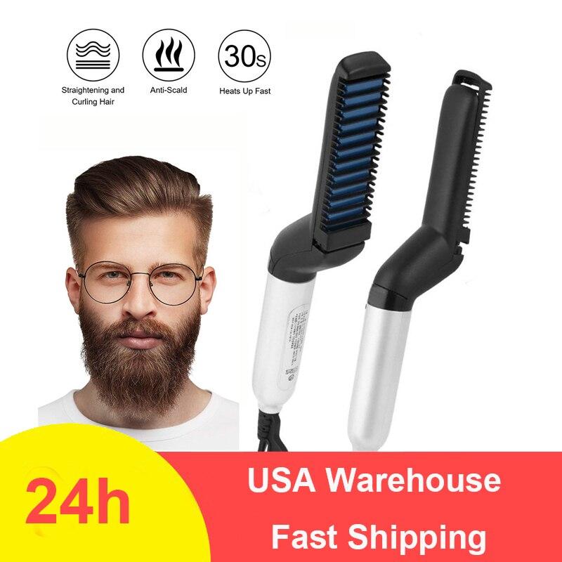 Alisador de barba multifuncional, plancha de pelo caliente para hombre, plancha plana, alisado rápido, cepillo para Barba, Herramienta para mostrar la tapa, triangulación de envíos