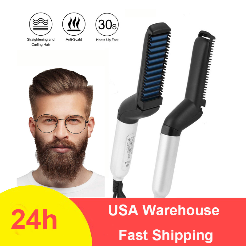 Multifunctional Beard Straightener Heated Man's Hair Beard Flat Iron Quick  Straightening Beard Brush Show Cap Tool Dropshipping