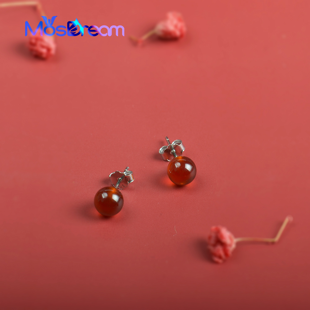 MosDream Garnet Studs Earring S925 Silver Red Round Natural Gemstone Classic Earrings For Women Christmas Gift Elegant  Jewelry