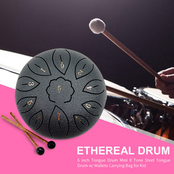 Tongue Drum 6 Inch Steel Tongue Drum Set 11 Tune Hand Pan Drum Pad Tank Sticks Carrying Bag Percussion Instruments Accessories