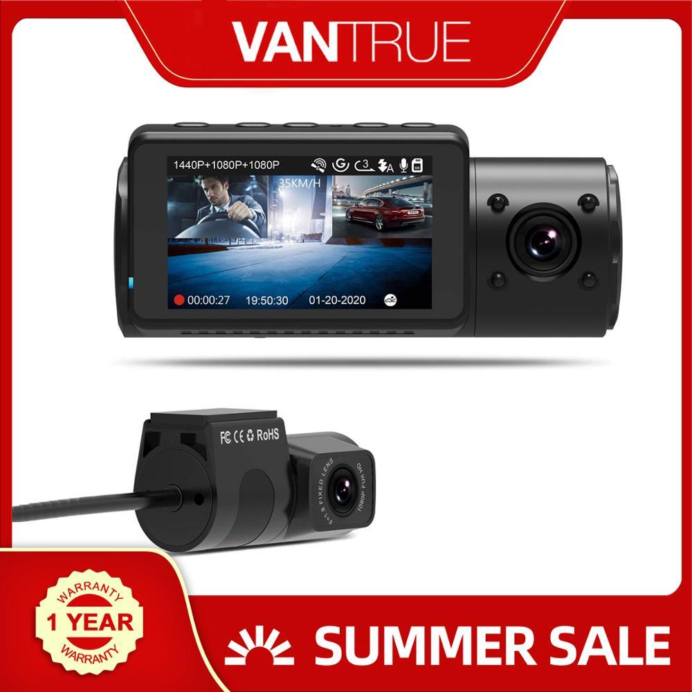 Kamera na deskę rozdzielczą Vantrue N4 3 kanały 1440P przód i 1080P wewnątrz i 1080P tylna potrójna kamera na deskę rozdzielczą era z widzenie nocne z wykorzystaniem podczerwieni, kondensatorKamery samochodowe   -
