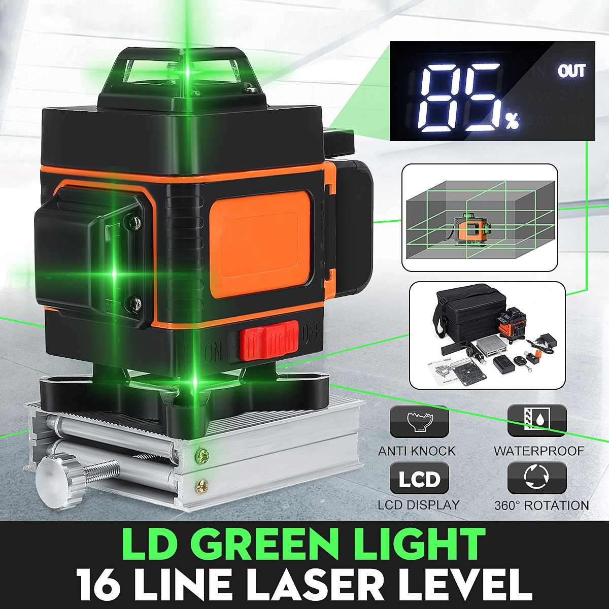 1 Set Laser Level 16 Lines 3D Self-Leveling 360 Degree Horizontal And Vertical Cross Super Powerful Green Laser Measurement Tool