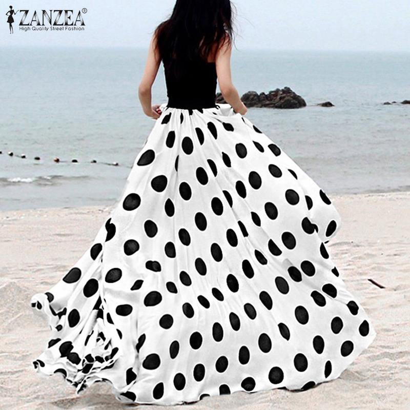Plus Size 2020 Summer Women Retro Polka Dot Printed Long Skirts ZANZEA Casual Baggy Faldas Skirt Ladies Bohemian Jupe Femme 5XL