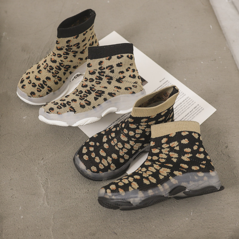 Yorkzaler Printed Leopard High Top Kids Sneakers Casual Geometric Children Sport Shoes Girl Boy Running Shoes Footwear 26-35