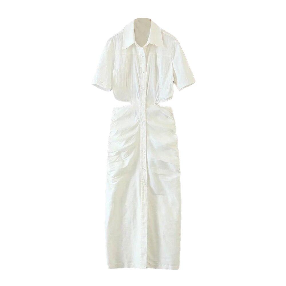 2021 Новое Женское платье с вырезами на талии, с короткими рукавами, платье миди, модный дизайн, сексуальное элегантное женское платье, Ropa Mujer ...