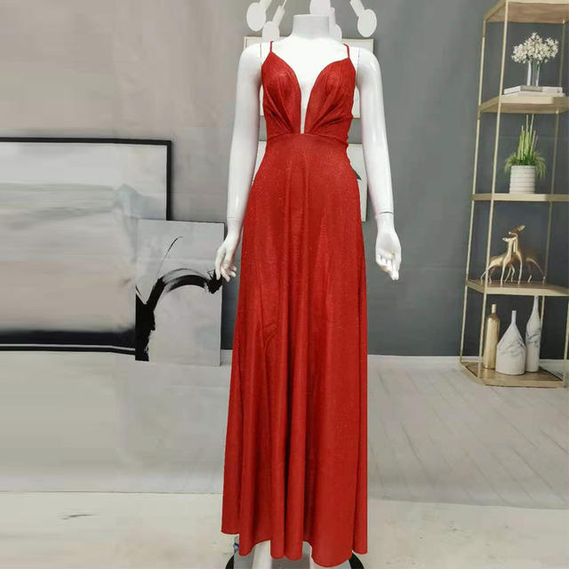 2021 A-Line Spaghetti Straps Tea-Length Red Satin Prom Homecoming Dresses Sparkly Sexy Hollow Night Evening Vestidos Women 5