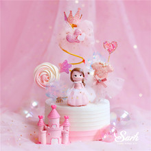 Rose maille princesse décoration spirale fil Sequin fête de mariage fournitures mariée château joyeux anniversaire gâteau Topper cuisson amour cadeau