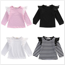 Детский топ для маленьких девочек, одежда с длинными рукавами, футболка Милая одежда принцессы топы с длинными рукавами для девочек, розовый, черный, в полоску