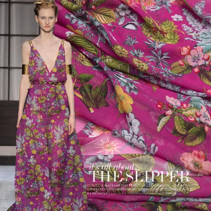 50cm Chun Ye Fragrance Perspective Sexy Summer Printing Girl Dress Fabric 140 Wide Silk Georgette Fabric DIY Scarf Shawl