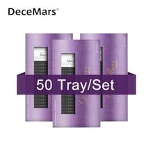 DeceMars lot dextensions de cils courbées J, B, C, D en vison, naturels, doux, 50 pièces par lot