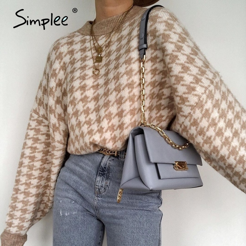 Simplee Women geometric khaki knitted sweater women casual Houndstooth lady pullover sweater female Autumn winter retro jumper 1