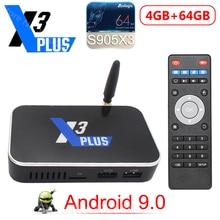 X3 PLUS Amlogic S905X3 صندوق التلفزيون أندرويد 9.0 2GB 4GB DDR4 16GB 32GB 64GB ROM 2.4G 5G واي فاي 1000M LAN بلوتوث 4K HD X3 مكعب X3 برو